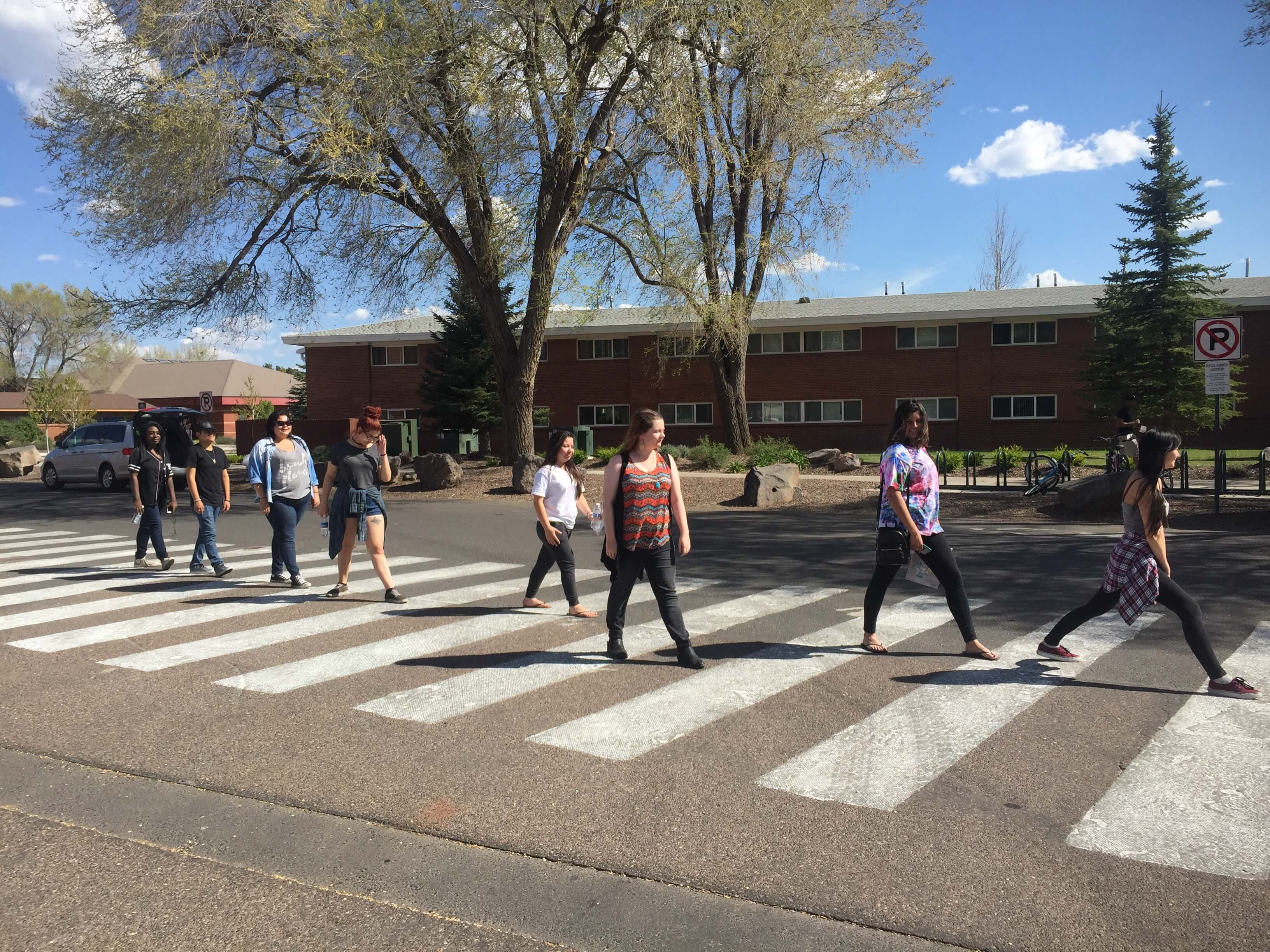 Students walking on crosswalk