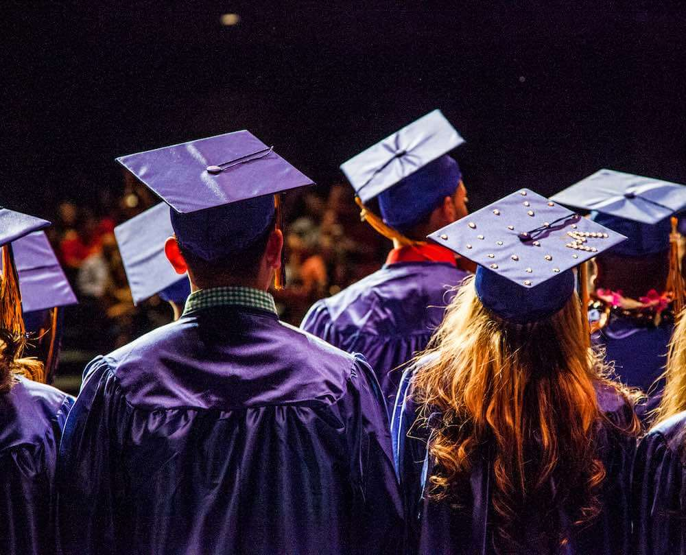 Edge High School and graduates in cap and gown